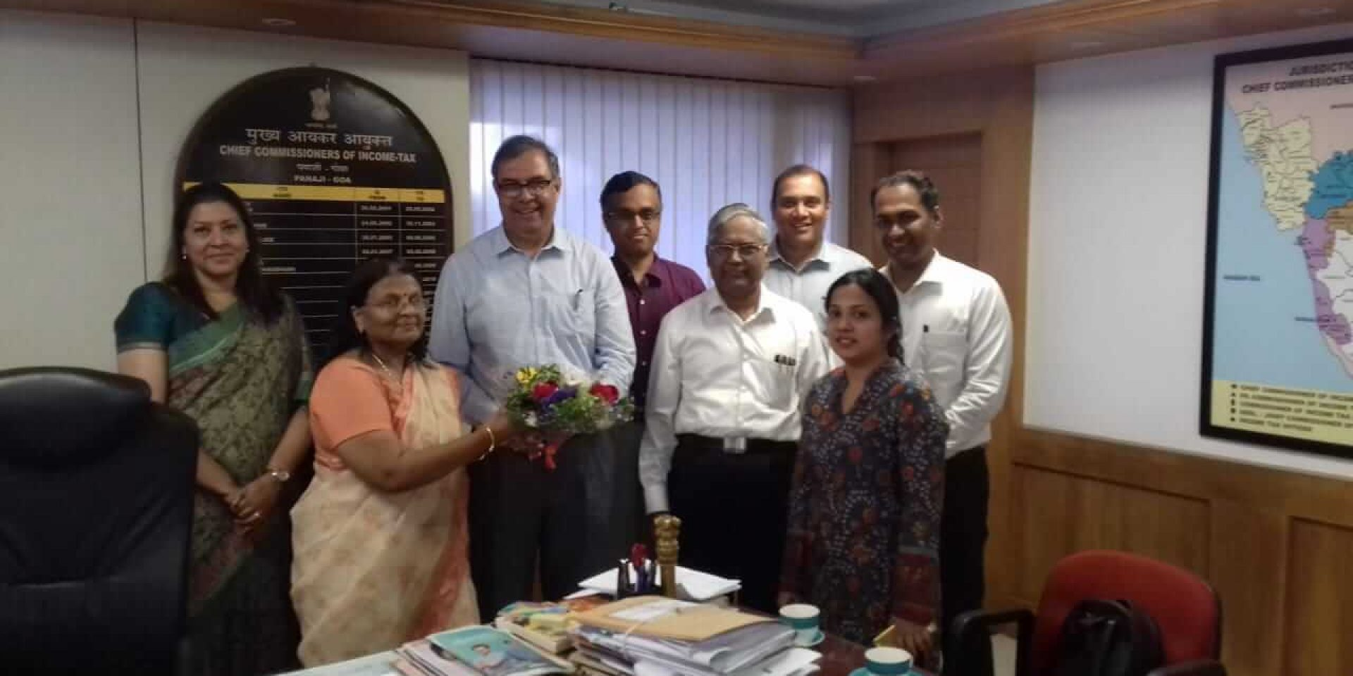 GCCI President and Taxation Committee called on the CCIT-Goa Ms Usha Nair, who is retiring on 31st Jan, 2019. Seen with Ms Amrapalli Das, CIT Goa and senior CA R. K. Pikle | 29th January, 2019.